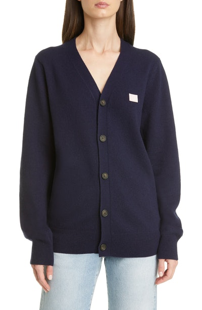 Keve Face Patch Wool Cardigan
