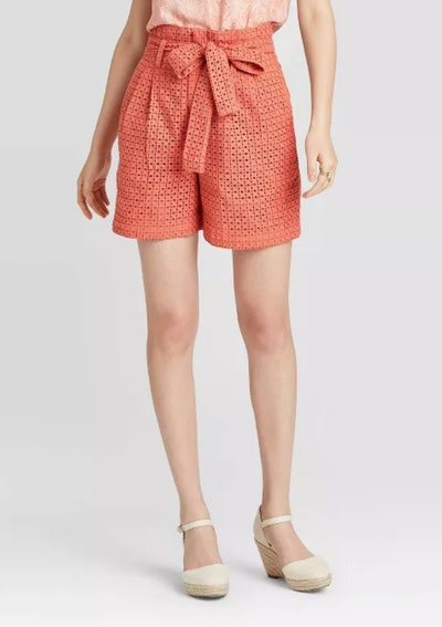A New Day Women's High-Rise Eyelet Paperbag Short