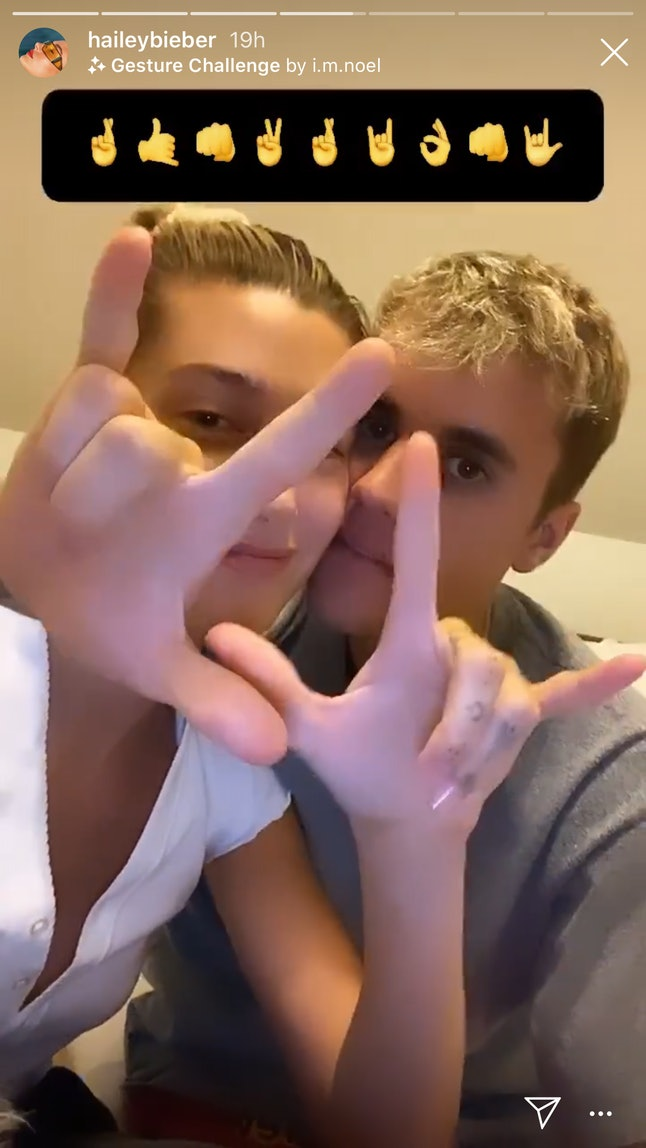 Hailey and Justin Bieber took part in Instagram's Hand Gesture Challenge.