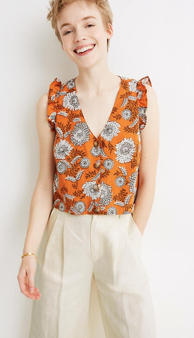 Ruffle Button-Front Tank in Gathered Blooms