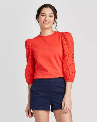 A New Day Women's Long Sleeve Eyelet T-Shirt in Red