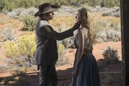 James Marsden as Teddy and Evan Rachel Wood as Dolores in Westworld