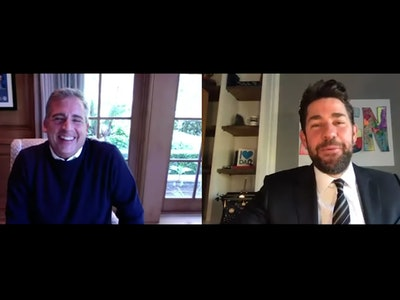 """John Krasinski interviewed Steve Carell to mark the 15th anniversary of """"The Office"""" in the premier episode of his new webshow, """"Some Good News."""""""