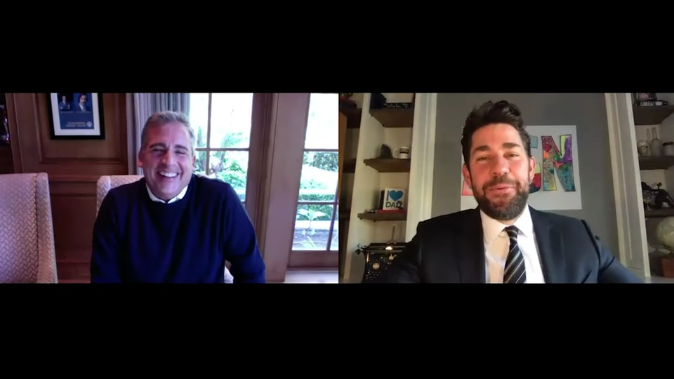 "John Krasinski interviewed Steve Carell to mark the 15th anniversary of ""The Office"" in the premier episode of his new webshow, ""Some Good News."""