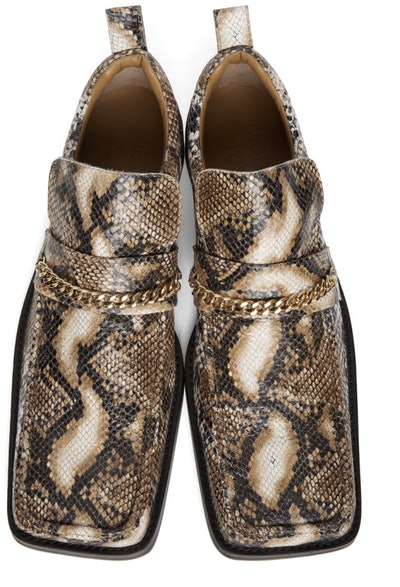 Brown Snake Square Toe Boot Loafers