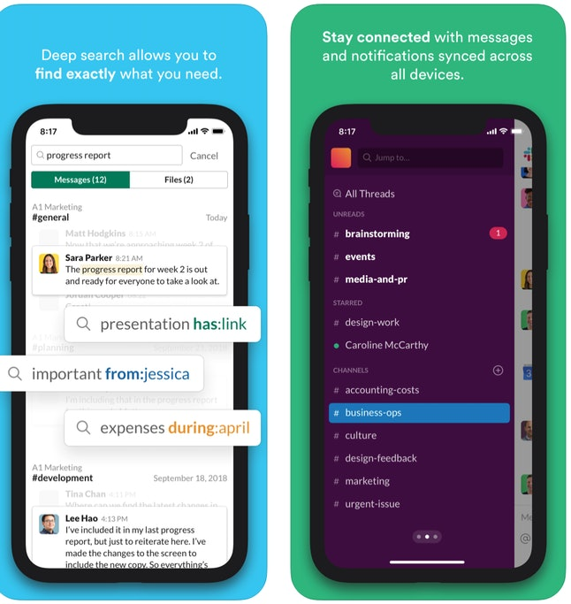 This app helps you stay in touch with your co-workers while working from home.