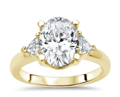 1.55ct TGW Oval Moissanite and Trillion 3 Stone Diamond Engagement Ring 14k Yellow Gold