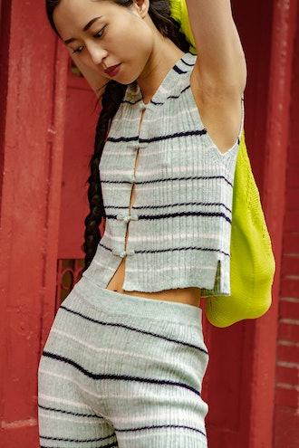 Linen Rib Crop Waistcoat
