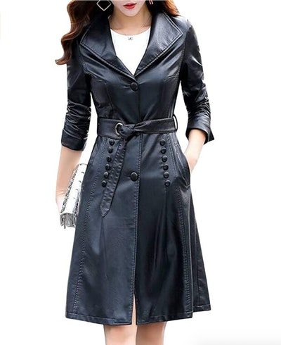 Tanming Button Front Leather Trench Coat