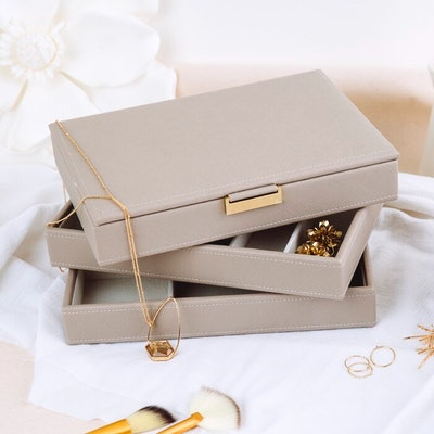 Stackable Jewelry Box with Metal Tab
