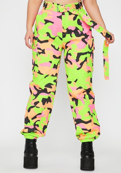 Dolls Kill Nuclear Neon Army Cargo Pants
