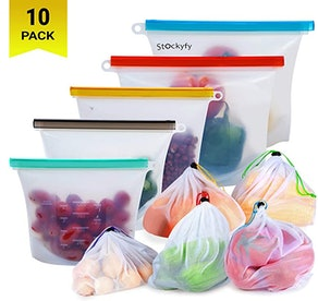 Stockyfy Reusable Silicone Food Storage Bags (Set Of 10)