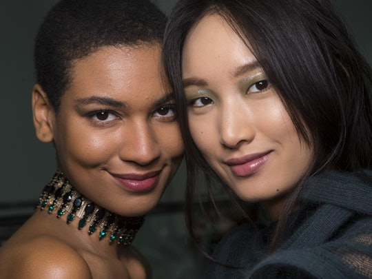 Models from Emporio Armani show, possibly wearing Armani Beauty's new Luminous Silk Concealer.