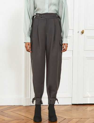 Belted Cuff Grey Pants