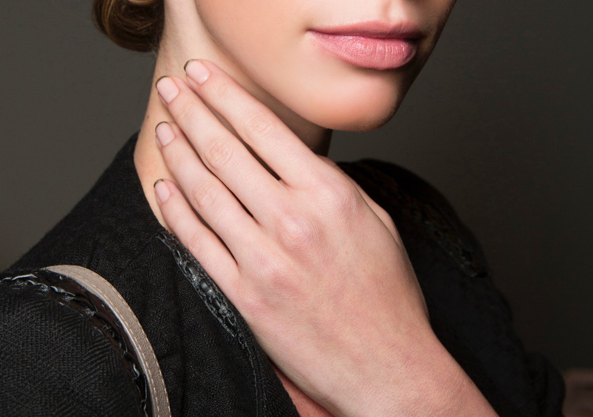 Double French manicures are the nail polish trend taking over Pinterest, along with black and white ...