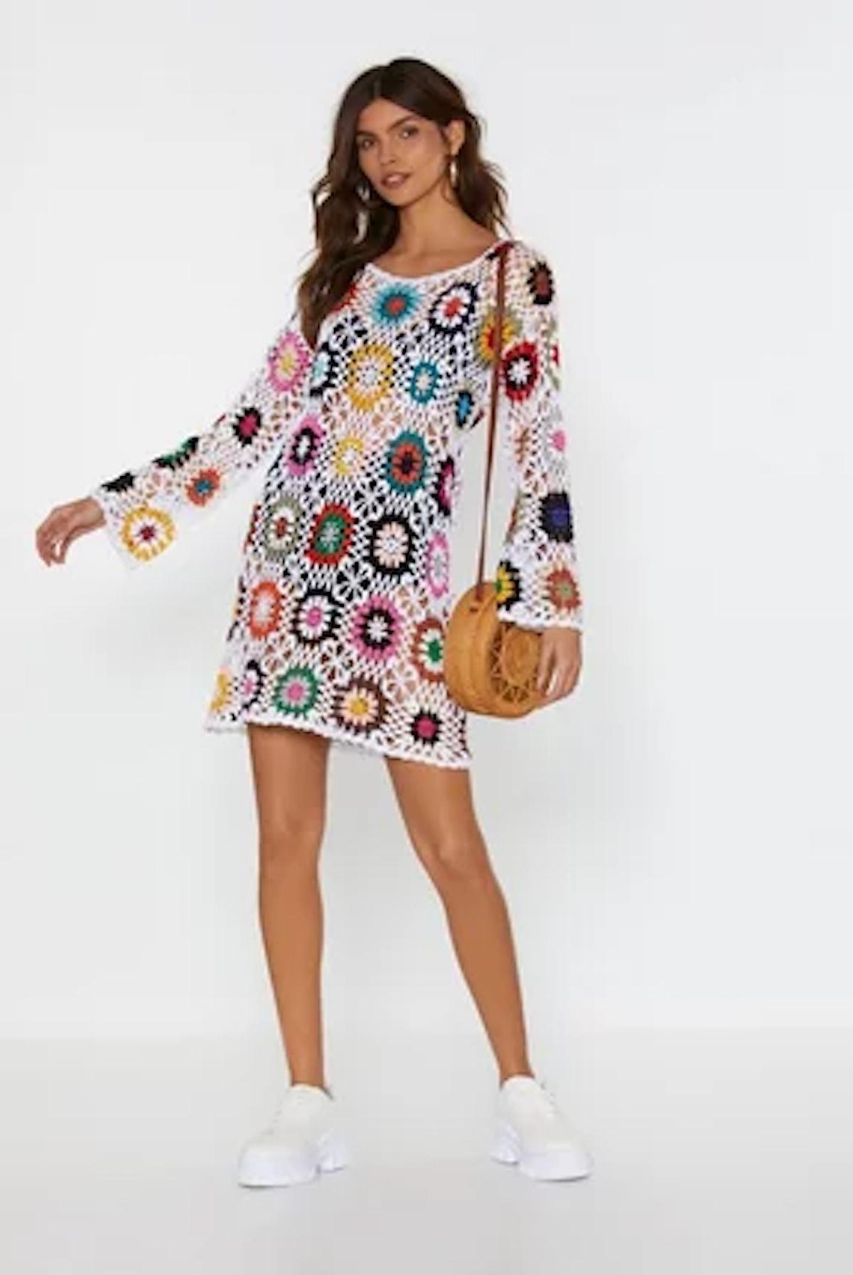 Nasty Gal Bright of Way Multicolored Crochet Dress