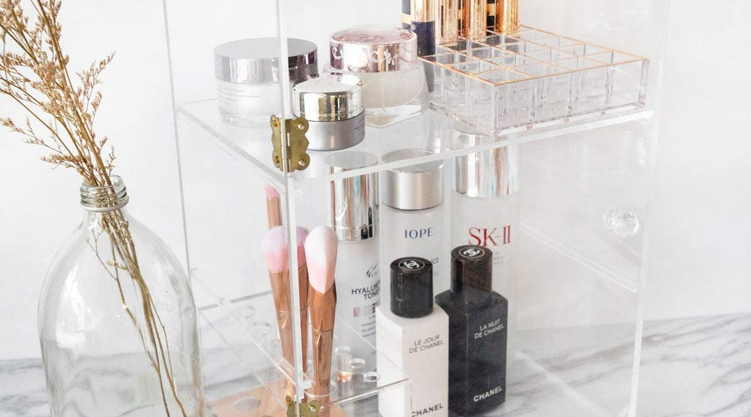 Clear acrylic beauty organizers, like the ones from Moosy Life, typically are available for $20 or less.