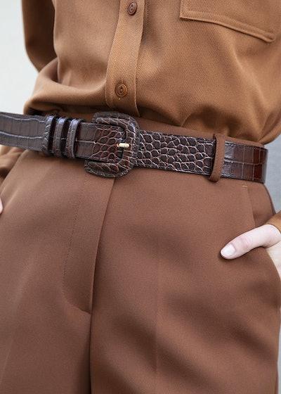 Brown Embossed Croc Belt