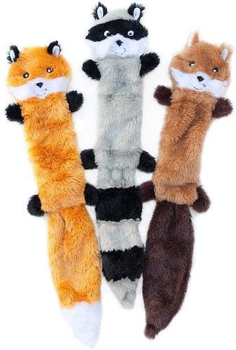 ZippyPaws Skinny Peltz No Stuffing Squeaky Plush Dog Toy (3-Pack)