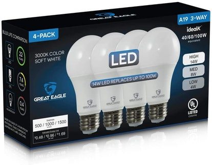 Great Eagle 40/60/100W Equivalent 3-Way LED Light Bulb (4-Pack)