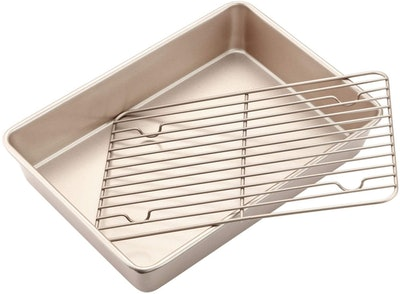 CHEFMADE Roasting Pan with Rack (13.8 by 10 by 2.5 inches)