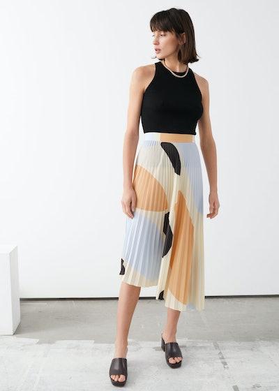 Printed Plissé Midi Skirt