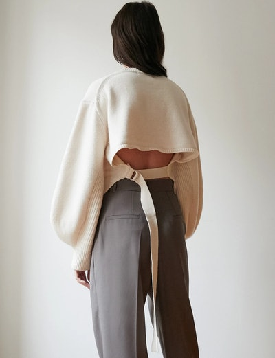 Back Tie Crop Sweater