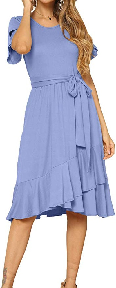 Levaca Flowy Short Sleeve Midi Dress with Belt