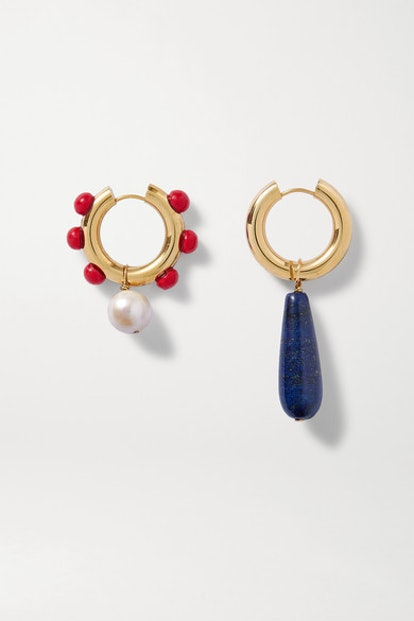 Gold-Plated Lapis Lazuli, Pearl And Glass Earrings