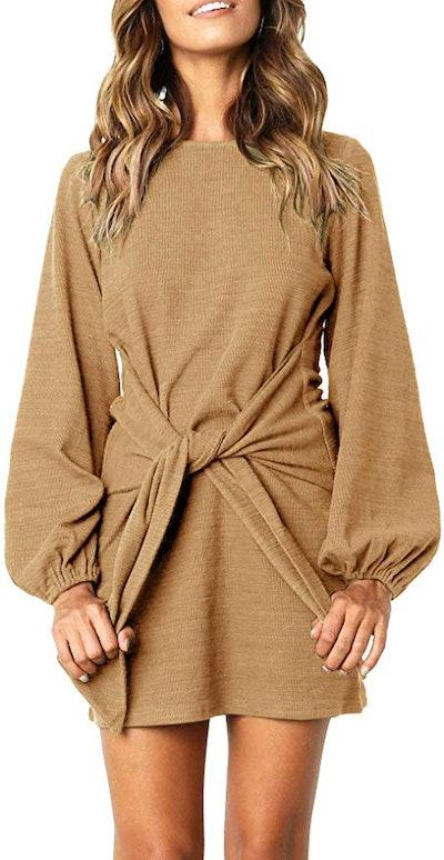 R.Vivimos Cotton Knitted Tie Waist Sweater Dress