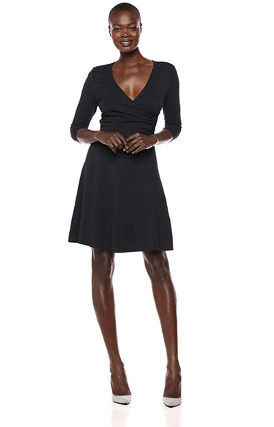 Lark & Ro Women's 3/4-Sleeve Faux-Wrap Fit And Flare Dress