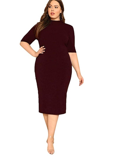 Floerns Women's Short Sleeve Plus Size Dress