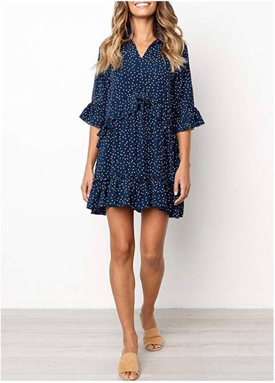 MITILLY Women's V-Neck Ruffle Polka Dot Dress