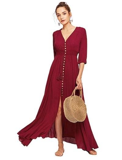 Milumia Women's Button Up Split Floral Print Maxi Dress