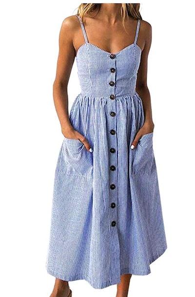 Angashion Women's Button Down Swing Dress