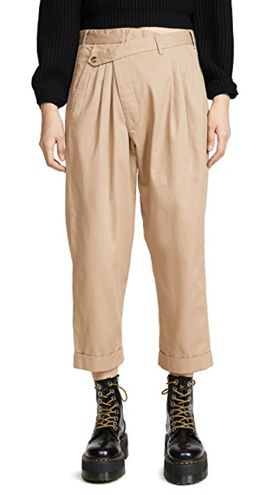 Cropped Triple-Pleat Crossover Pants