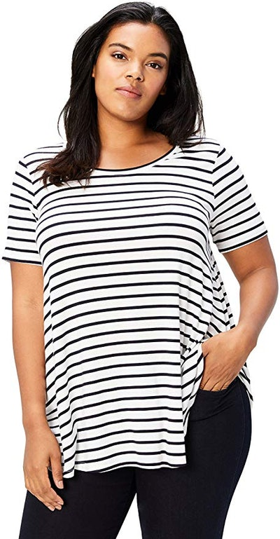 Daily Ritual Plus Size Jersey Short-Sleeve Scoop Neck Swing T-Shirt