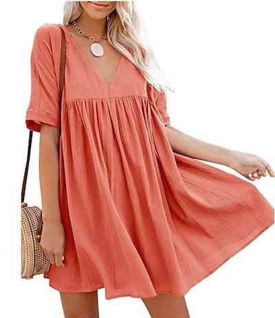 Hestenve Women's Short Sleeve Babydoll Dress