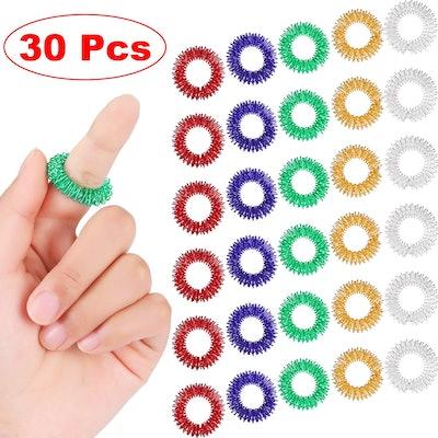 Blulu Spiky Sensory Finger Rings (30 Pieces)