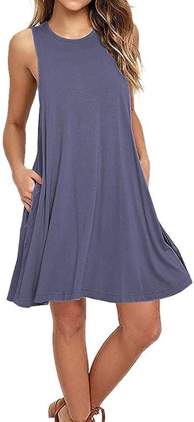 AUSELILY Women's Sleeveless Casual T-Shirt Dress
