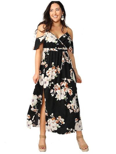 Milumia Women's Plus Size Cold Shoulder Dress