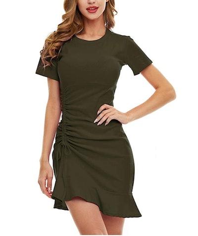 SATINIOR Women's Ruched Bodycon Dress
