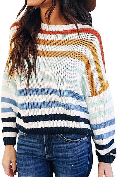 Zesica Long Sleeve Striped Crew Neck Sweater