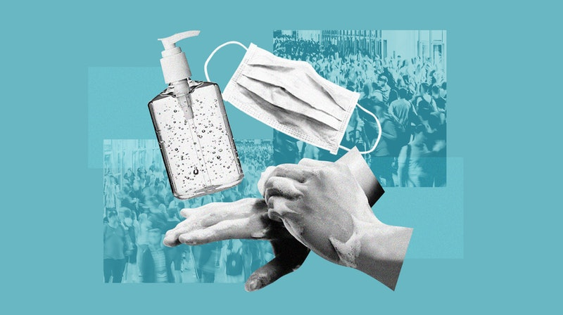 A collage of a person washing their hands, with hand sanitizer and a face mask. This article outline...