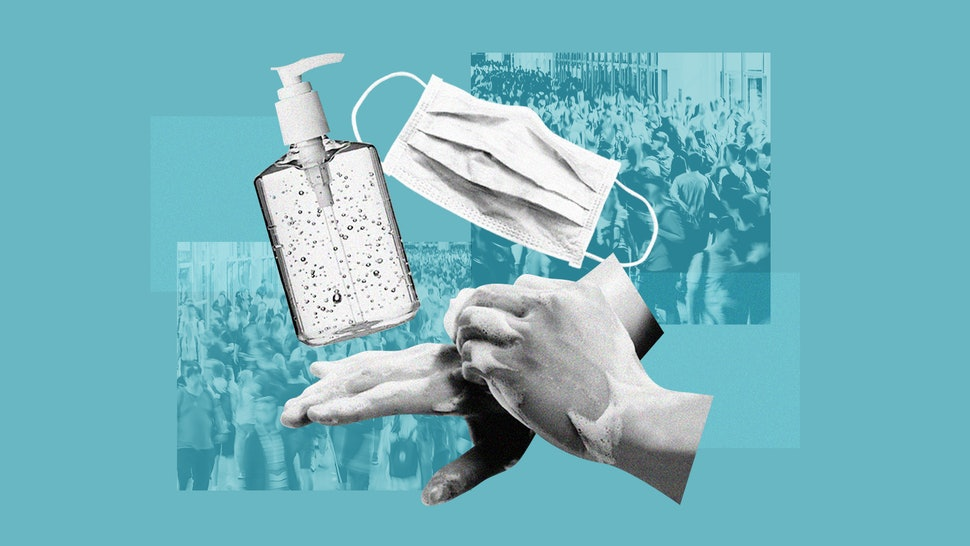 A collage of a person washing their hands, with hand sanitizer and a face mask. This article outlines what to know about coronavrius in the U.S. right now.