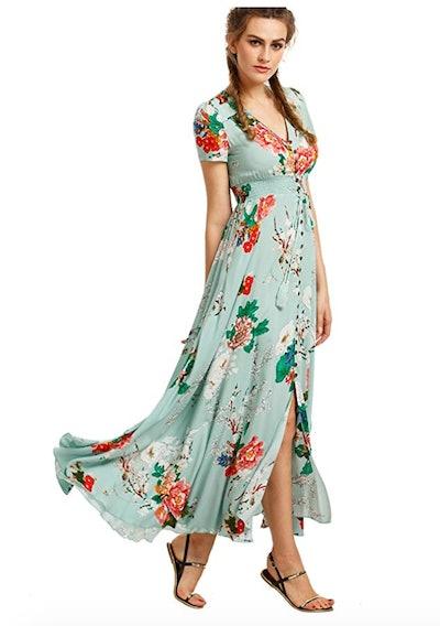 Milumia Women's Floral Print Button Up Maxi Dress