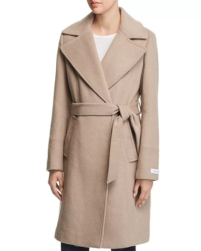 Notched Collar Wrap Coat