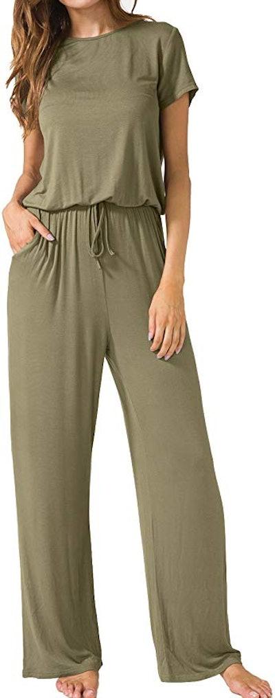 LAINAB Short Sleeve Wide-Leg Jumpsuit with Pockets