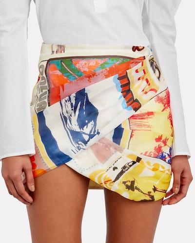 Brightside Printed Wrap Skirt - Ivory Surf Print