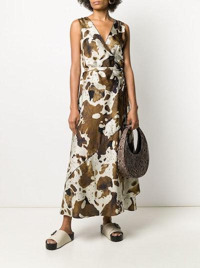 Cow Hide-Print Wrap Dress